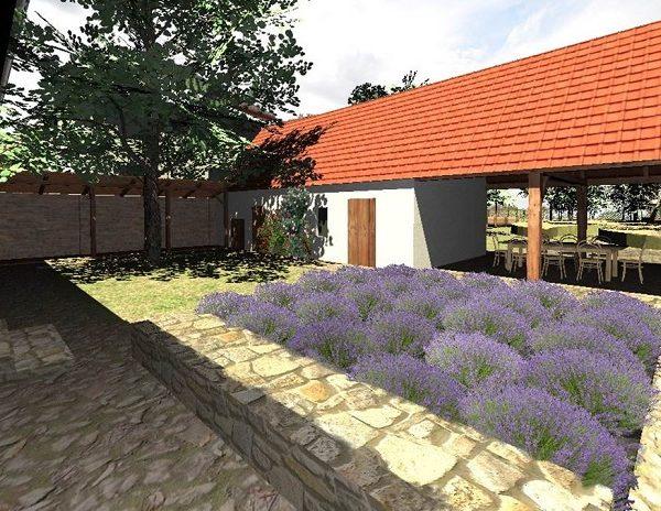 návrh dvora - kamenné chodníky, zídky, přístavba chléva, velký strom - alterstudio