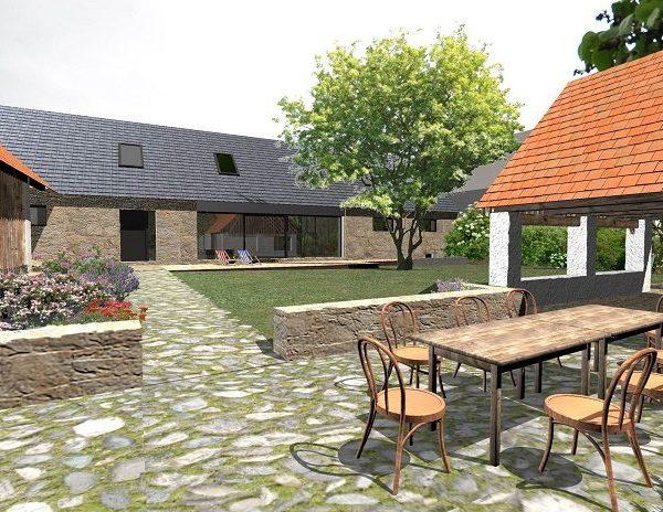 návrh venkovní terasy, zídek a kamenných chodníků - alterstudio