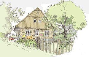 zahrady u starých domů a chalup