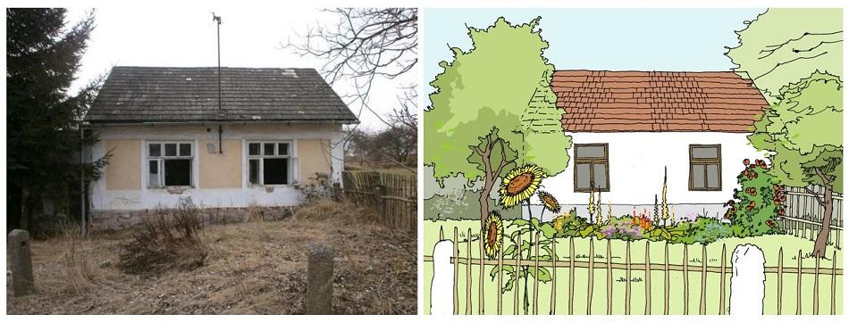 venkovský domek - původní stav x návrh zahrádky - Alterstudio
